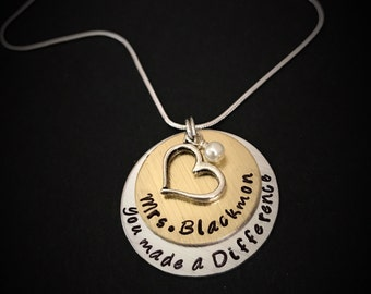 Personalized Teacher Necklace-Teacher's Jewelry, Teacher Appreciation Gift, End of Year Teacher Gift, Teacher Gift, teacher retirement