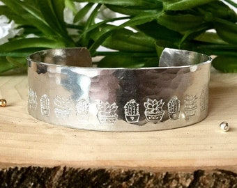Cactus Cuff Bracelet Cactus Jewelry Succulent Cuff, Succulent Jewelry, Hand stamped Cuff, Plant Jewelry, Plant Lovers Mothers Day Gift