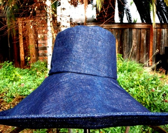 Denim Wide Brim Hat Dark Denim Sun Hat Gardening Hat Hiking Beach Boating Sunhat Fishing Hat Summer Winter Hat for Women Freckles California