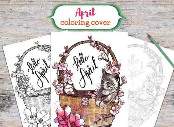 April druckbare Färbung Deckblatt druckbare April Cover April