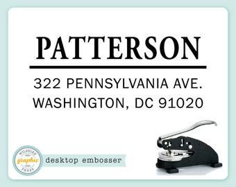 Embosser - PATTERSON Style - Desk Model - Personalized Return Address - Embossing Stamp Seal - Wedding Housewarming Gift