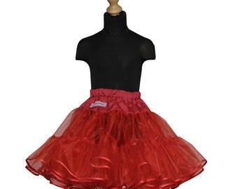 Girls 50's full volume petticoat double layer organdy with satin ribbon hem red underskirt tutu