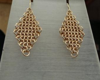 Gold filled chainmail  earrings, gold mesh earrings, gold chainmaille earrings ,gold dangle earring, geometrical gold rhombus earrings