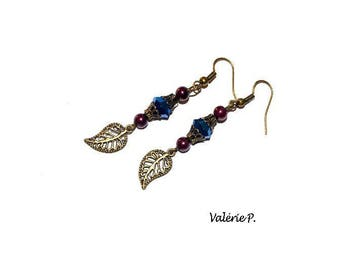 Earrings dangling fancy leaf autumn VALERIE P glass beads