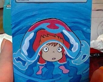 Handpainted  Magic the Gathering MTG Card Full Art Ponyo island