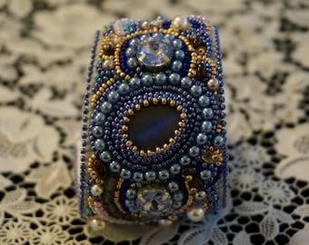 The bead embroidered cuff Gloria by La Bonna