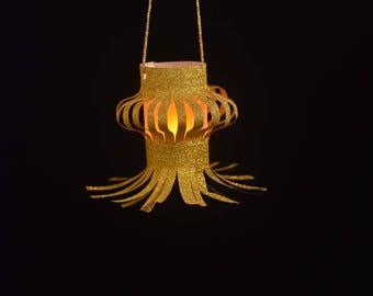 Pair of Traditional Diwali Paper Lantern in Golden Glitter Paper