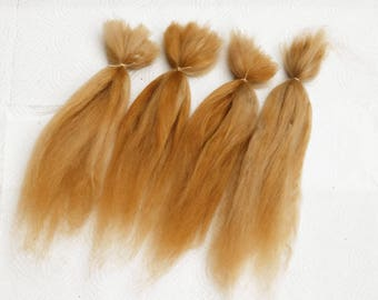 """Suri Alpaca Doll Hair dyed and combed locks, golden blond Batik, 8-10"""" for reroot and BJD doll wigmaking, 14 g"""