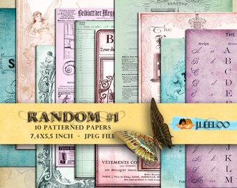 RANDOM #1 backgrounds 7.4x5.5 inch - digital collage sheetpapers journal art scrapbooking jpg instant download printable diary - pp155