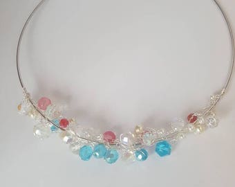 SET Turquoise and Pink Crystals Choker and Bracelet SET for Women on Sale, Silver Dainty Necklace, Classic Charm Choker Necklace