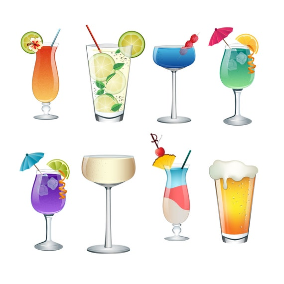 Cocktail summer drinks clip art set of 8 colorful png jpg for List of alcoholic mixed drinks