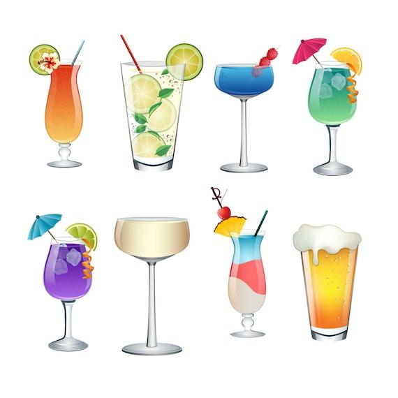 Cocktail Summer Drinks Clip Art Set of 8 Colorful PNG JPG