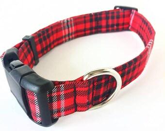 Red Plaid Dog Collar, Christmas Dog Collar, Plaid Dog Collar, Holiday Dog Collar, Red Dog Collar, Male Dog Collar, Boy Dog Collar, Red Plaid