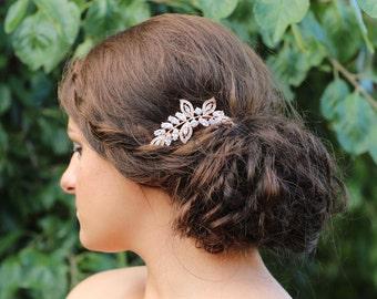 Rose Gold  Hair Comb , Wedding Hair Comb , Vintage Style Crystal Hair Comb, Art Deco headpiece, Bridal Headpiece, Bridal Hair Comb