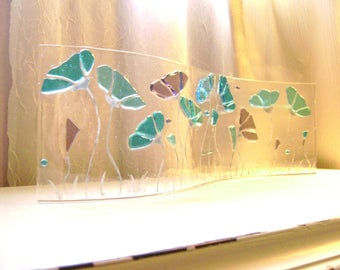 Turquoise and Purple Stained Glass Floral Fused Glass Freestandind Art