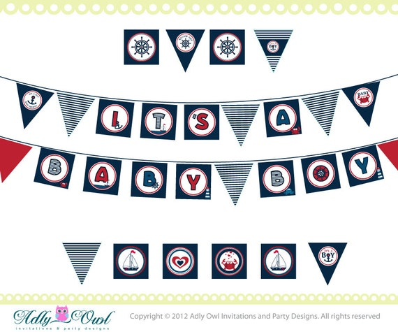 Super Nautical Baby Shower Banner Ahoy Anchor It's A
