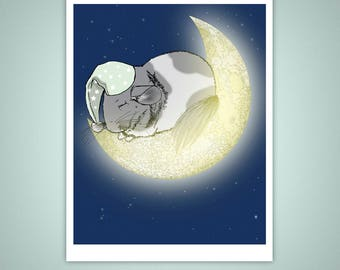 Sleeping Chinchilla on the Moon 8x10 Giclee Illustration Art Print, Home Decor, Pets, Nursery, Kid's Bedroom, Gifts Under 20 Dollars