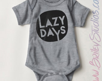 Lazy Days Newborn Baby One Piece, Birth Announcement, Coming Home Outfit, Personalized Baby Shower Gift, Gender Neutral Infant Clothes