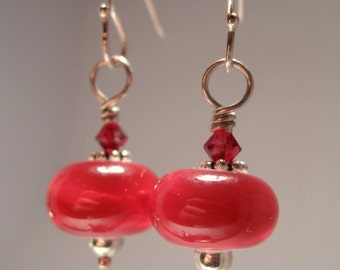 Earrings Lampwork Glass Beads Pink