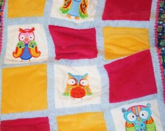 """Appliqued Owl Minky Baby Blanket,"""" Whooo, Whooo"""""""