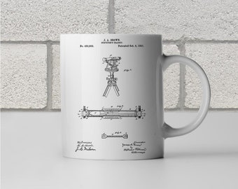 Surveyors Transit Patent Art Mug Gift, Surveyor Mug, Surveyor Gift, Theodolite, Engineer Gift, Civil Engineering, Civil Engineer Gift