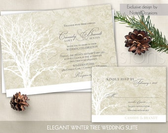 Rustic Tree Wedding Invitation Set Oak Tree Wedding Invitation Winter weddings - Tree Wedding Invitations- Digital DIY printable Wedding Set