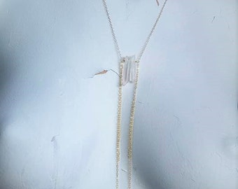 Rose Quartz Lariat Style Necklace on 14k Gold Filled Chain