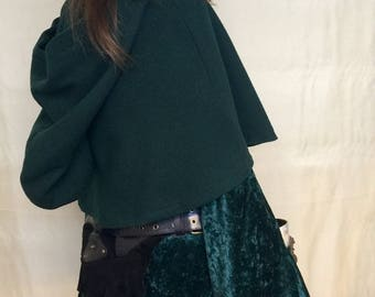Pure Wool Forest Green Guinevere Capelet Cape Cloak.  Made to Order.