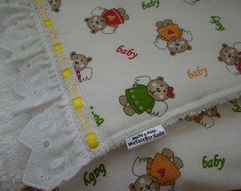 Baby Receiving Blanket, handmade. Hight quality white fabric with towel fabric on the other side. Bordered with white lace. 100% handmade.