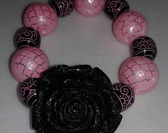 Pink and black chunky bead bracelet