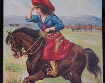 Vintage Cowgirl Postcard made in Germany