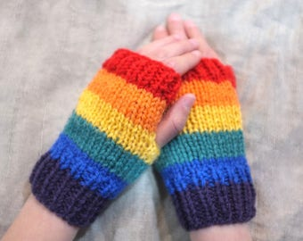 fingerless gloves girl boy unisex hand knitted wool / rainbow / toddler child tween teen adult woman man / wrist warmers fingerless mittens