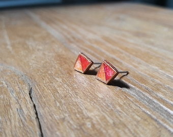 Watercolor Pyramid Earrings in Red and Orange - Hand-made & Hand-Painted