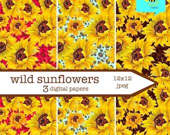 wild sunflowers digital paper pack - leopard floral digital scrapbook papers - 12x12 - Thanksgiving autumn clipart - 3 floral printables