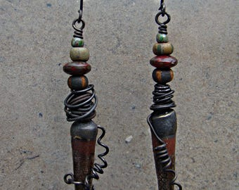 Rust and Iron Spikes with Earthy striped Czech Picasso Bead Earrings