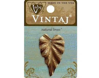 Vintaj Natural Brass 38x23mm Woodland Leaf Pendant Charm Finding - 1 piece