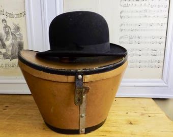 Vintage French Bowler Hat and Hat Box