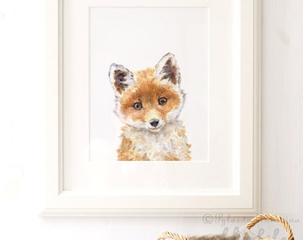 Fox Nursery Print, Fox Portrait, Giclee, Woodland Animal Portrait , Fox animal Print, Fox Nursery Art, Fox Watercolor, Nursery Wall Art