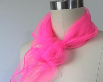 "Vintage 50's Hot Pink Scarf Neck Wrap Sheer Nylon Chiffon 25"" x 25"" pinup rockabilly NOS japan"