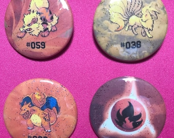 Pokemon Kanto Fire Type Pinback Buttons