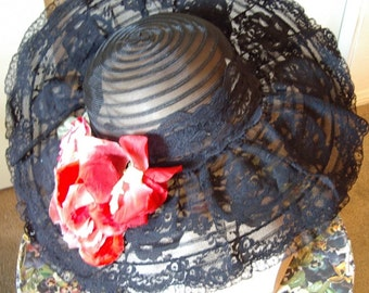 Designer Original Black Lace Trim Horsehair Picture Hat Red Silk Rose Trim  Item # 704  Hats