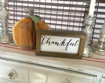 Thankful sign | Thankful wood sign | Fall decor | Fall decorations | Fall signs | Autumn decor | Autumn sign | Thanksgiving decor | Signs