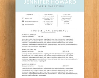 "Modern Resume Template | CV Template + Cover Letter | Professional Resume Design | Mac or PC | Fully Customizable (""Oceana"")"