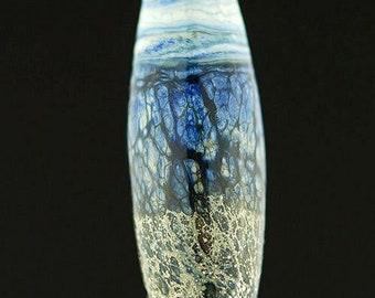 Blue Organic Lampwork Glass Focal Bead by Lara