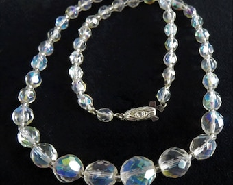 SALE Czech Cut Crystal Beads Vintage Necklace Faceted Aurora Borealis