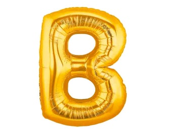 Jumbo Letter B Gold Foil (Mylar) Balloons - 40 Inch - Hanging Decorations Party Supplies