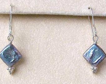 Platinum Diamond Shape Freshwater COIN PEARL Sterling Silver Drop EARRINGS 5692