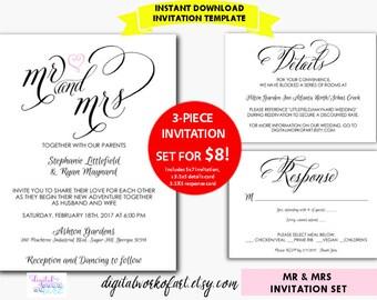 DIY Rustic Wedding Invitation Template Printable, Mr and Mrs, Kraft Wedding Invitation Template Set, digital instant download, editable PDF