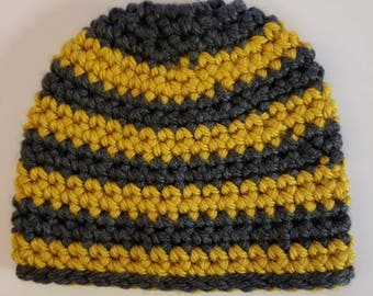 Gray and Yellow Striped Ponytail Hat