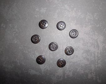 set of 08 Brown/taupe buttons plastic 1 cm